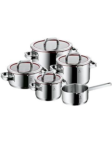 WMF Function 4 - Batería de cocina, 5 piezas acero inoxidable- 1 olla grande