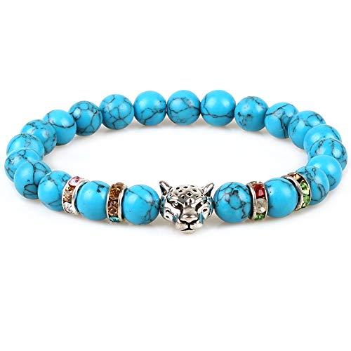 Weelovee Mens Women Chakra Buddha Stretch Bracelet Real Nature Blue Turquoise Bead Stones Semi-Precious Silver Leopard -