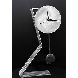 Statements2000 All Natural Silver Metal Desktop Clock - Functional Art - Modern Pendulum Timekeeper - Time Keeper by Jon Allen - 23-inch