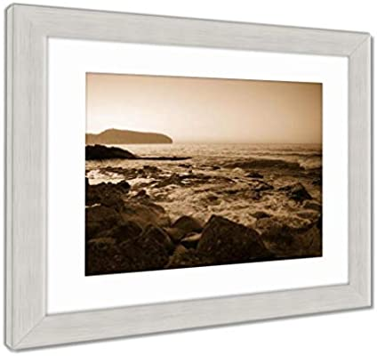Ashley Framed Prints The Spanish Coastline, Shot in The Early Sunrise. Alicante, Spain, Wall Art Home Decoration, Sepia, 26x30 (Frame Size), Silver Frame, ...