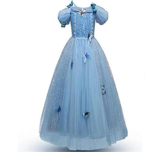 Prom Aurora Gown (Dolwins Girls Princess Aurora Dress Costume Cosplay Party Dress(Light blue-140cm(7-8 Years)))