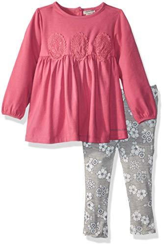 Calvin Klein Baby Girls 2 Pieces Tunic Legging Set, Rose Tweed/Gray, 6-9 Months