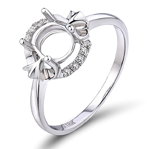 Lanmi Oval 5x7mm Solid 14k White Gold Diamond Engagement Wedding Semi-Mounting Ring