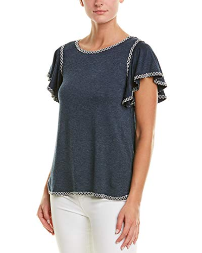 Max Studio Womens Heather Jersey Ruffle SLV top with emb Detail, Navy/Ecru, Small from Max Studio
