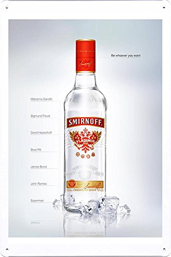 "Tin Sign Metal Poster Plate (8""x12"") of Smirnoff Vodka: Be whoever you want by Food & Beverage Decor Sign"