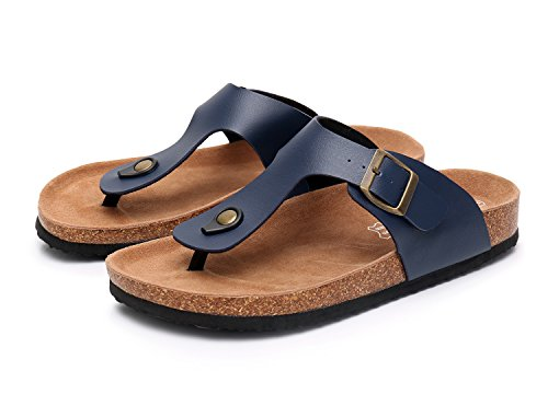 Open Slippers Sandals Flat Slip Navy Sole Cork with Suede Adjustable Strap Men's Buckle on Toe w4HPqAxf