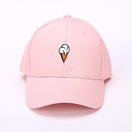 Mens Womens Couple Peaked Caps Hip Hop Curved Snapback Fresh Cute Icecream Baseball Caps Adjustable Cotton Washed Hat (Pink) by Aurorax Hat (Image #3)