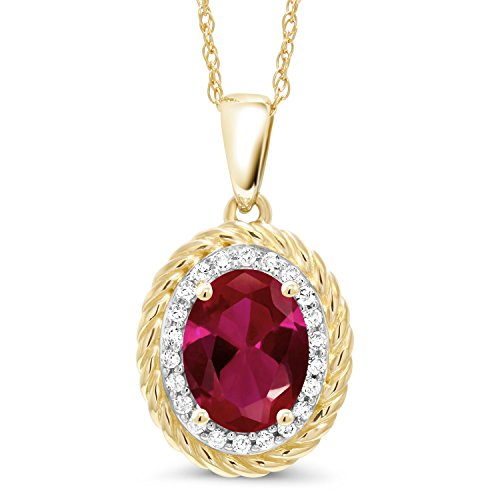 Gem Stone King 1.30 Ct Oval Red Created Ruby White Diamond 14K Yellow Gold Pendant