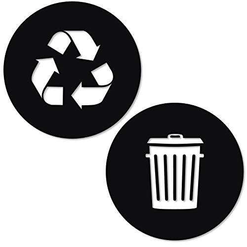 Symbol Vinyl Stickers - Recycle and Trash Sticker Logo Style 2 (5.5in x5.5in) Symbol to Organize Trash cans or Garbage containers and Walls - Small Black Matte Vinyl Decal Sticker