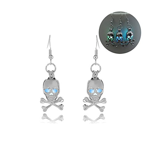 Stick Figure Costume Baby (Beydodo Halloween Jewelry Dangle Earrings for Women Lumious Skull Earrings Drop Halloween Party Gift)