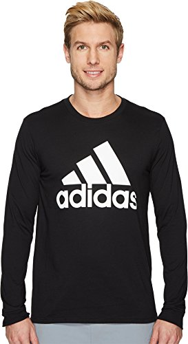 adidas Mens Badge of Sport Classic Long-Sleeve Tee, Black/White, Large