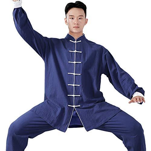Vdual Unisex Hebilla Kung Fu Tai Chi Ropa Artes Marciales Collar De Pie Chá ndales Tops+Pantalones