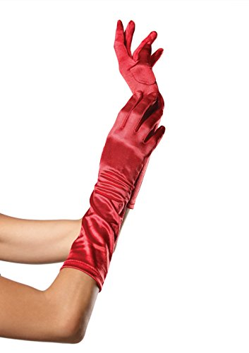 Leg Avenue Women's Elbow length satin glove, Red, One Size