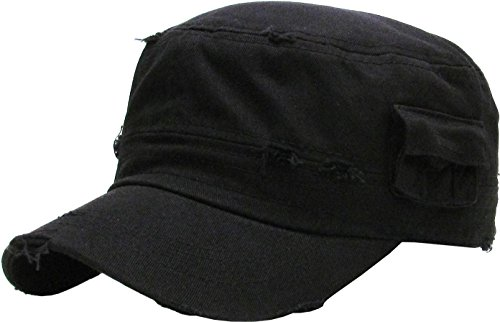 KBK-1465 BLK L Vintage Distressed Cadet Army Cap Basic Everyday Military Style Hat (Fatigue Style Hat)