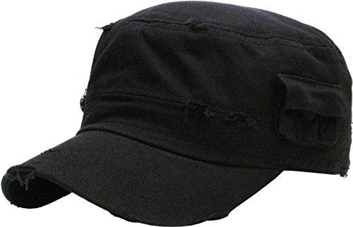KBK-1465 BLK M Vintage Distressed Cadet Army Cap Basic Everyday Military Style (Cadet Hat)