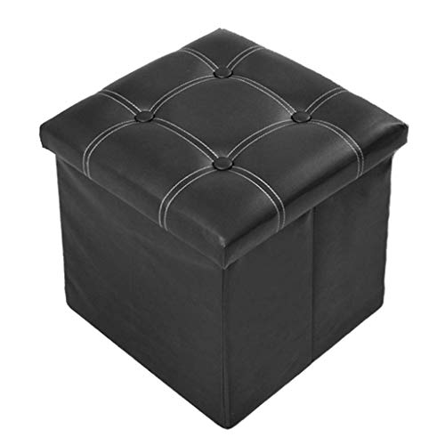 (Bdfjhoiugk PVC Ottoman Foldable Household Storage Stool Storage Box - Maximum Carrying Capacity 150kg - Easy to Clean (Color: Dark Brown) (Color : Schwarz, Size : -))
