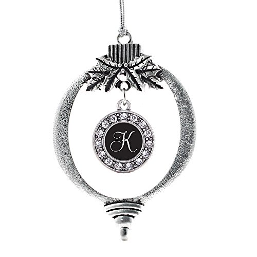Inspired Silver - My Script Initials - Letter K Charm Ornament - Silver Circle Charm Holiday Ornaments with Cubic Zirconia Jewelry