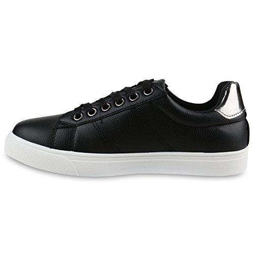Damen Sneaker Low Basic Sneakers Lack Metallic Turnschuhe Glitzer Schuhe Snake Sportschuhe Leder-Optik Denim Schnürer Flandell Schwarz Weiss Chrom