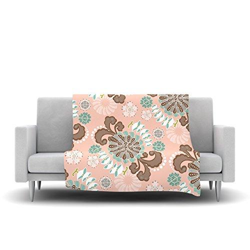 40 x 30 Kess InHouse Very Sarie Sea Carnival Pink Teal Fleece Throw Blanket