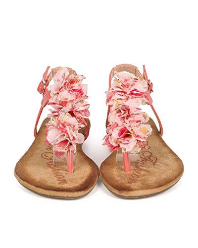 Dbdk Eb30 Mujeres Flor Gasa T-strap Slingback Tanga Sandal Coral