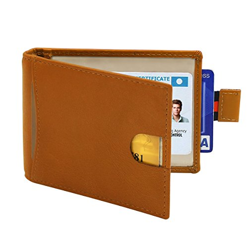 Slim Wallets for Men with Money Clip, HIPPIH RFID Blocking Genuine Leather Credit Card Holder - Minimalist Front Pocket Wallet with Gift Box ()