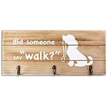 VILIGHT Gifts for Women with Dogs Leash Holder Rustic Home Sign Wall Decor with Hooks - Funny Pet Lover Gifts for Women and Men - 12.6x5.5 Inches