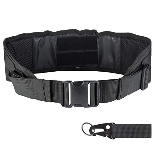 liangdongshop Tactical Battle Belt Padded MOLLE Waist Belt Military Style Webbing Riggers Belt Outdoor Sports with Quick Release Buckle & Mesh Back(Black)