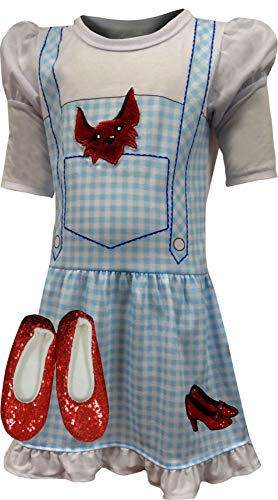 The Wizard of Oz Little Girls' Dorothy Costume Pajama Gown with Fleece Lined Ruby Slippers, Blue, 4/5