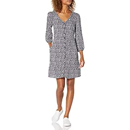 Amazon Brand – Goodthreads Women's Georgette 3/4-sleeve Button-Front Dress