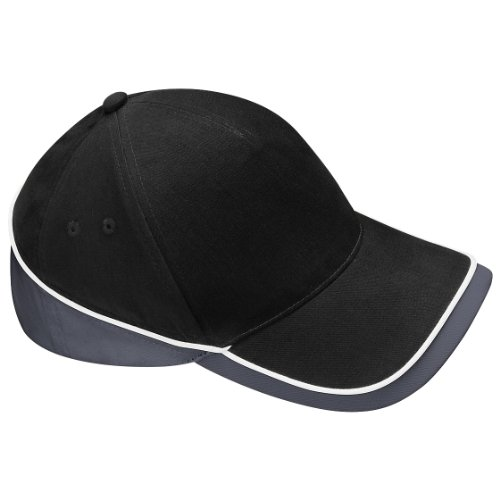 Beechfield - Gorra/Visera Unisex deportiva Modelo Competition - Verano/Piscina - 100% algodón. Negro/Grafito