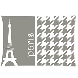 Black and White Checkered Eiffel Tower Paris Zippered Pillow Case 20x30 (Twin sides)