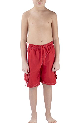 BEGED Quick Dry Swim Trunks Bathing Suits for Boys by (4T, RED) ()
