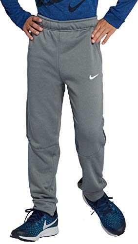 Nike Boys Dry Fleece Graphic Training Pants (Cool Grey/White, Large)