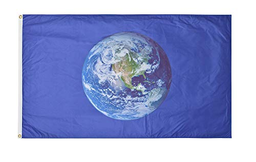 Green Grove Products Earth Flag (Western Hemisphere) 3' x 5' Ft Premium Polyester Double-Sided Outdoor Flag -