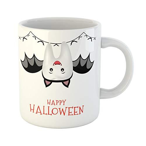 Semtomn Funny Coffee Mug Cute Cartoon Tooth Character in Bat Suit Trick Treat Happy 11 Oz Ceramic Coffee Mugs Tea Cup Best Gift Or Souvenir]()