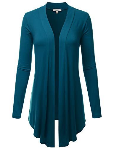 (LALABEE Women's Draped Open-Front Long Sleeve Light Weight Cardigan-Teal-XL)
