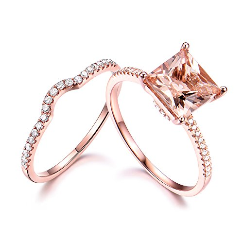 8mm Princess Cut Pink Morganite Wedding Ring Set 925 Sterling Silver Rose Gold CZ Diamond Stacking Band by Milejewel Morganite Engagement Ring