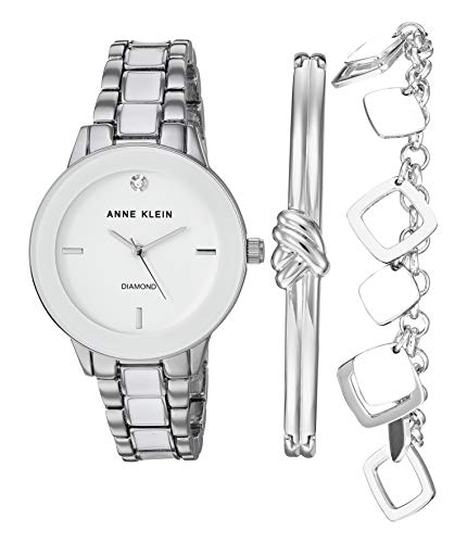 Anne Klein Women's Genuine Diamond Dial Silver-Tone and White Watch with Bracelet Set, AK/3348WTST