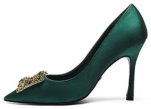 décoration Chaussures Hauts Green 424 Talon Escarpins Vamp de MSM4 Strass Pointus Fin Banquet Talons Femme Bouts 4Bw8f7