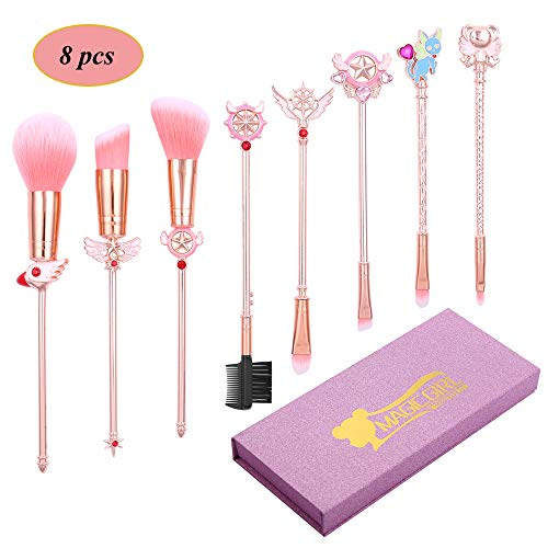 Professional Magical Girl Makeup Brushes - 8pcs Metallic Wand Makeup Brush Set for Face Eyes Eyebrow and Lips, Creative Gift for Sister and Girlfriend