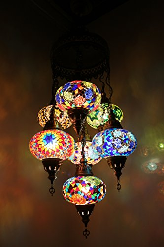 Handmade, Authentic, Mosaic Chandelier, Tiffany Style Glass, Moroccan Ottoman Style Night Lights Blue and Red, 7 Globes
