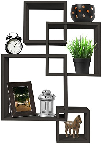 Greenco 4 Cube Intersecting Wall Mounted Floating Shelves Espresso Finish, -