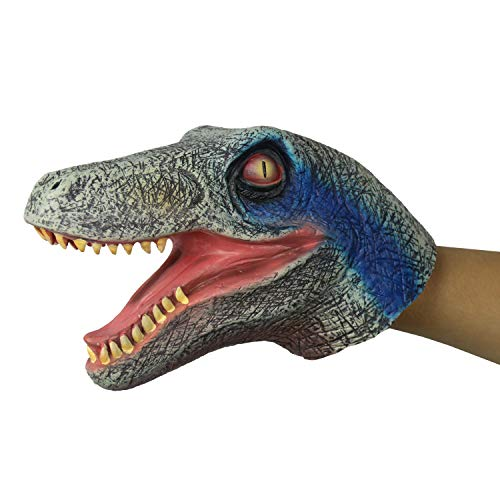 FantasyParty Hand Puppet Realistic Velociraptor Role Play Toy Dinasour Latex Puppet for Both Adult and Children Blue