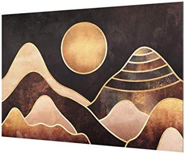 Bilderwelten Crédence en Verre - Golden Sun Abstract Mountains - Paysage 2:3 40 x 60cm