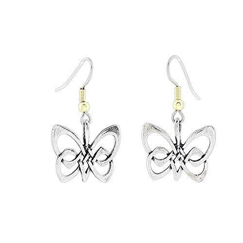 Silver-Plated Celtic Butterfly Dangle Earrings