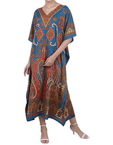Kaftan Tunic Kimono Dress Ladies Summer Women Evening Maxi Party Plus Size 14-18 Teal
