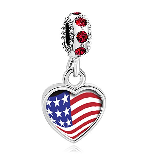 CharmsStory American Usa US Flag Charms Red Synthetic Crystal Dangle Photo Beads For Bracelets