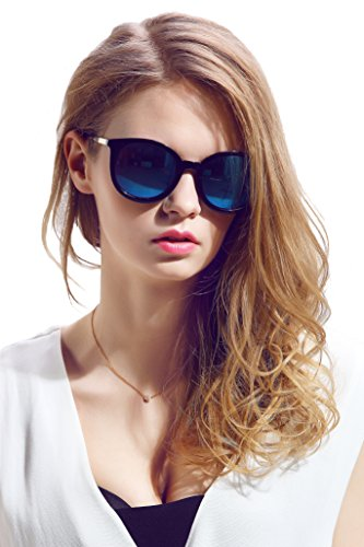 Diamond Candy Women's Sunglasses UV Protection Polarized eye glasses Goggles UV400 54Blackblue