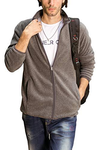 Aoli Ray Mens Fleece Full Zip Jacket Long Sleeves Sweatshirt Outdoor Sportwear Coats (Zip Pocket Grey, L) -