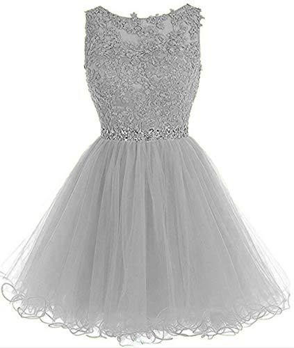 (Dydsz Homecoming Dresses Short Prom Party Dress for Women Juniors Plus Size 2019 D126 Silver 16 )